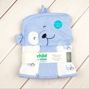 Carters | Puppy Hooded Towel & 3 Washcloths